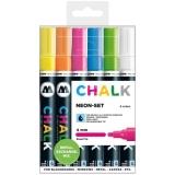 Marker creta lichida, varf rotund, 4 mm, Chalk Marker Neon, 6 culori/set Molotow