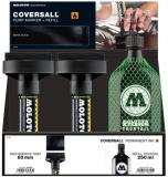 Set 4 markere cu vopsea, varf Flowmaster, 60 mm, Coversall Ink + rezerva 250 ml Molotow