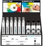Set 10 markere, diferite dimensiuni, Blender Pro + rezerva 30 ml Molotow