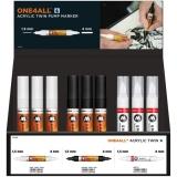 Set markere cu vopsea acrilica, varf dublu, One4All Acrylic Twin 36 buc/set Molotow