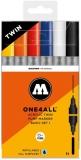 Marker cu vopsea acrilica, varf dublu, rotund, ONE4ALL Twin Basic 6 culori/set Molotow