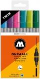Marker cu vopsea acrilica, varf dublu, rotund, ONE4ALL Twin Basic 2, 6 culori/set Molotow
