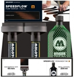 Set 4 markere cu vopsea, varf Flowmaster, 60 mm, Speedflow Ink + rezerve 250 ml Molotow