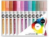 Marker caligrafic, varf tip pensula, Aqua Color Brush Basic 2, 12 culori/set Molotow