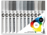 Marker caligrafic, varf tip pensula, Aqua Color Brush Grey, 12 culori/set Molotow