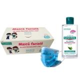 Masca protectie respiratorie, pentru copii, de unica folosinta, 3 straturi, 50 buc/set + Dezinfectant maini gel 75 ml Sanytol