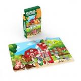 Mini Puzzle cu doua fete - La tara, la oras, 24 piese Noriel