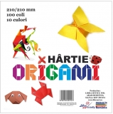 Hartie origami 80 gr. 210 x 210 mm, 10 culori, 100 file/set
