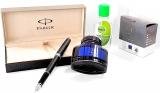 Pachet Stilou Sonnet Matte Black CT Parker in caseta cadou cu calimara + gel dezinfectant maini 50 ml