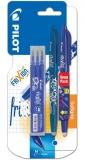 Set 2 rollere Frixion 0.7 mm + 3 rezerve albastru Pilot