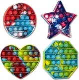 Jucarie senzoriala antistres Pop it Now and Flip it, Push Bubble, culori diverse, 4 forme/set