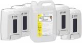 Pachet 5 Dozatoare sapun lichid, ABS, alb,1 L + Solutie cu efect dezinfectant pentru maini si suprafete Safeclean 5.6 L Iduna