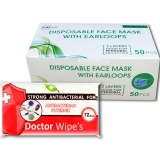 Pachet masca protectie respiratorie 50 buc/cutie + Servetele umede antibacteriene, XL, 72 buc/set Doctor Wipes