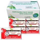 Pachet masca protectie respiratorie 50 buc/cutie + 5 seturi Servetele umede antibacteriene, XL, 72 buc/set Doctor Wipes