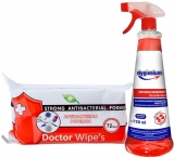 Pachet Dezinfectant universal multisuprafete 750 ml Hygienium + Servetele umede antibacteriene 72 buc/set Doctor Wipes