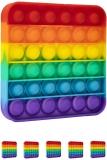 Jucarie senzoriala antistres Pop it Now and Flip it, Push Bubble model patrat curcubeu, 5 buc/set