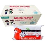 Pachet masca protectie pentru copii 50 buc/cutie + Servetele umede antibacteriene, 72 buc/set Doctor Wipes