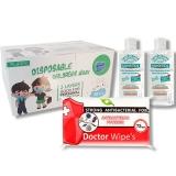 Pachet masca protectie pentru copii 50 buc/cutie + Gel dezinfectant Sanytol + Servetele umede antibacteriene, Doctor Wipes