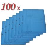 Pachet 100 dosare din carton cu capse 1/1 albastre tip L