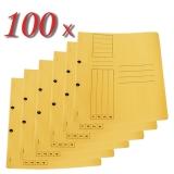 Pachet 100 dosare din carton cu capse 1/1 galben tip L