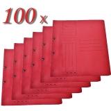 Pachet 100 dosare din carton cu capse 1/1 rosu tip L