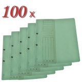 Pachet dosar carton color, verde, cu capse, coperta 1/2, tip L, 100 buc/set