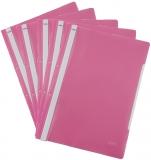Dosar A4 din plastic cu sina si perforatii, culoare roz, 50 buc/set Noki