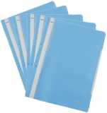 Dosar A4 din plastic cu sina si perforatii, culoare albastru deschis, 50 buc/set Noki