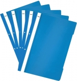 Dosar A4 din plastic cu sina si perforatii, culoare albastru inchis, 50 buc/set Noki