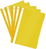 Dosar A4 din plastic cu sina si perforatii, culoare galben, 50 buc/set Noki