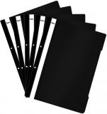 Dosar A4 din plastic cu sina si perforatii, culoare neagra, 50 buc/set Noki