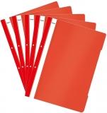 Dosar A4 din plastic cu sina si perforatii, culoare rosie, 50 buc/set Noki