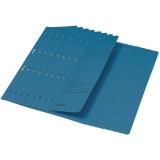 Dosar carton color, cu capse, coperta 1/2 albastru 50 buc/set Leitz