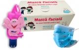 Pachet Masca protectie respiratorie, pentru copii, de unica folosinta, 3 straturi, 50 buc/set + Gel antibacterian pentru maini, 50 ml, Filo HiGeen