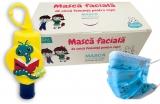 Pachet Masca protectie respiratorie, pentru copii, de unica folosinta, 3 straturi, 50 buc/set + Gel antibacterian pentru maini, 50 ml, Nino HiGeen