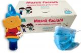 Pachet Masca protectie respiratorie, pentru copii, de unica folosinta, 3 straturi, 50 buc/set + Gel antibacterian pentru maini, 50 ml, Bibo HiGeen