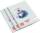 Set 5 caiete A4, 60 file, 70g/mp, matematica, Hipster Animals Herlitz