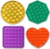 Jucarie senzoriala antistres Pop it Now and Flip it, Push Bubble, diverse culori, 4 forme/set