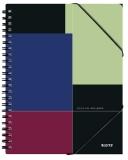 Caiet de birou Executiv Be Mobile, PP, A5 cu spira, matematica, negru-violet, Leitz