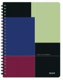Caiet de birou Executiv, PP, A4 cu spira, matematica, negru-violet, Leitz