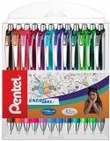 Roller cu gel Energel, 0.7 mm, cu mecanism, 12 culori/set Pentel