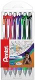 Roller cu gel Energel, 0.7 mm, cu mecanism, 6 culori/set Pentel