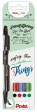 Marker caligrafic Brush Pen ultra fin Touch 4 buc/set Pentel