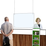 Panou plexiglas protectie casierie atarnat 67 x 100 cm