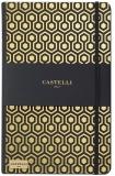 Caiet cu elastic Black Gold 13 x 21 cm, Honeycomb gold, dictando Castelli