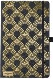 Caiet cu elastic Black Gold 13 x 21 cm, Art Deco Gold, dictando Castelli