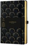 Caiet cu elastic Black Gold 13 x 21 cm, Art Deco Black & Gold, dictando Castelli