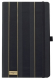 Bloc notes Black and Gold 13 x 21 cm, Sripes negru-auriu, dictando Castelli