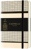 Caiet cu elastic Tatami 9 x 14 cm, White Milk, patratele Castelli