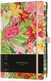 Caiet cu elastic Eden 13 x 21 cm, Flamingo, velin Castelli